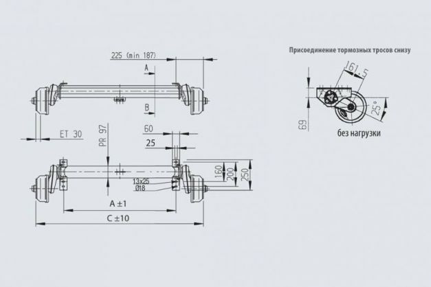 Купить Ось торсионная AL-KO тормозная 1500 кг 1300 мм (112х5)