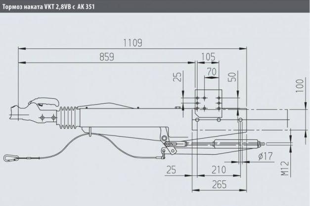 Купити Інерційне гальмо накату AL-KO 2,8VB / 1-C 2500-3500 кг АК351