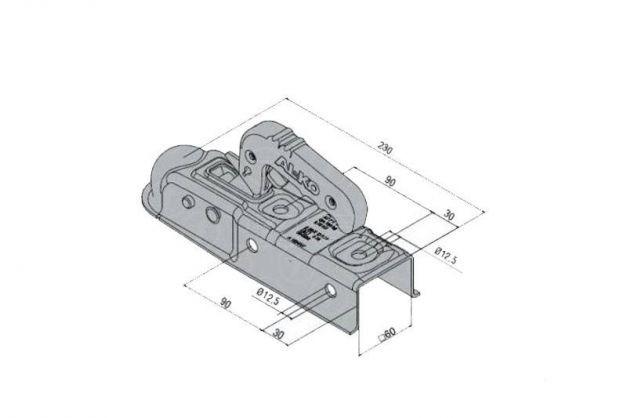 Купить Замковое сцепное устройство AL-KO AK 7 E на квадратное дышло 60 мм