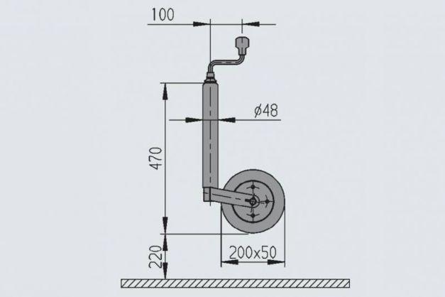 Купить Опорное колесо AL-KO COMPACT 150 кг 200*50