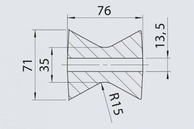 Купить Килевой ролик RP- 335 AL-KO 71х76 / 13.5 мм
