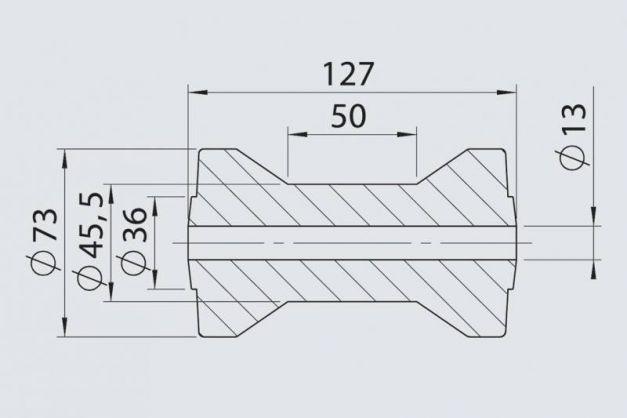 Купить Килевой ролик RP- 55 AL-KO 73х127 / 13 мм