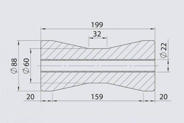 Купити Кільовий ролик AL-KO з металевою втулкою 88 х 199/22 мм