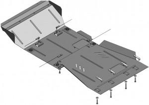 Купить Защита двигателя КПП радиатора редуктора Kolchuga для Nissan Navara 3 2005-2010 2.5D