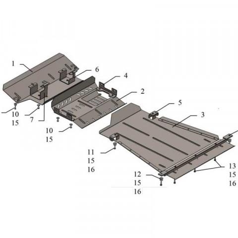 Купить Защита двигателя КПП радиатора рулевой тяги переднего моста Kolchuga для Suzuki Jimny JB 2005-2012